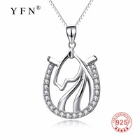 PYX0106 100 Real Pure 925 Sterling Silver Cubic Zirconia Crystal Horse Head Pendant Necklace Jewelry Gift