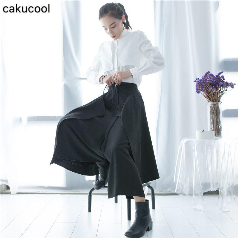 Kadın Giyim'ten Pantalonlar ve Kapriler'de Cakucool Soğuk ve geniş bacaklar pantolon kadın giyim 2019 Ilkbahar ve Sonbahar tasarımcılar orijinal zarif etekler rahat pantol'da  Grup 1