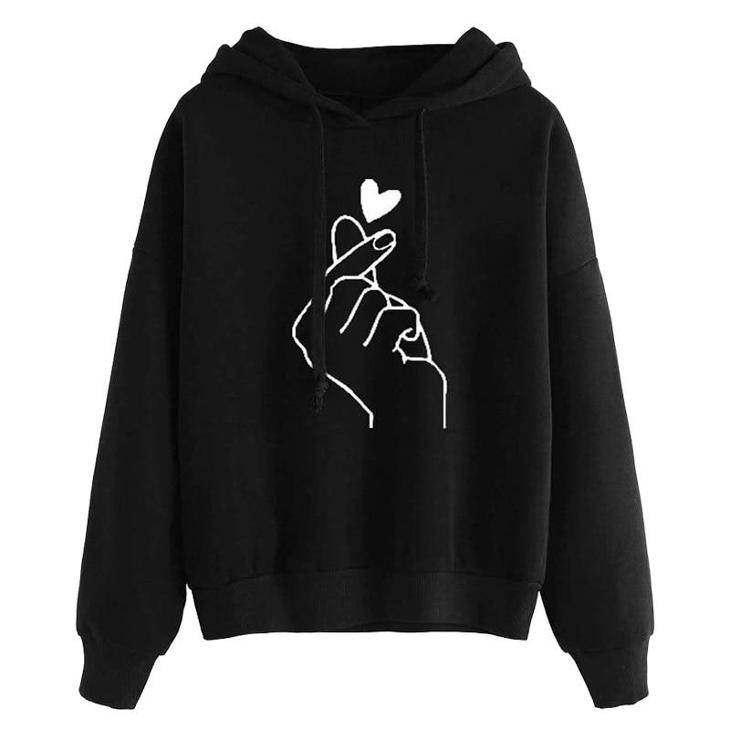 Harajuku Women's Sweatshirt and Hoody Ladies Oversize K Pop Tracksuit Pink Love Heart Finger Hood Casual Hoodies for Women Girls 7
