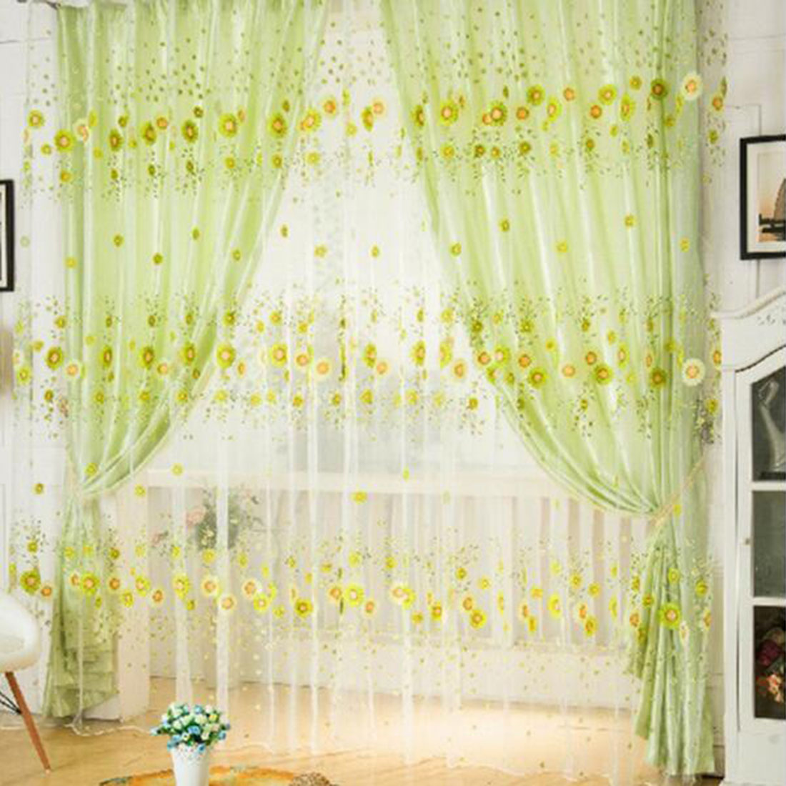Curtains sunflower printed voile tulle door door window for Balcony curtains