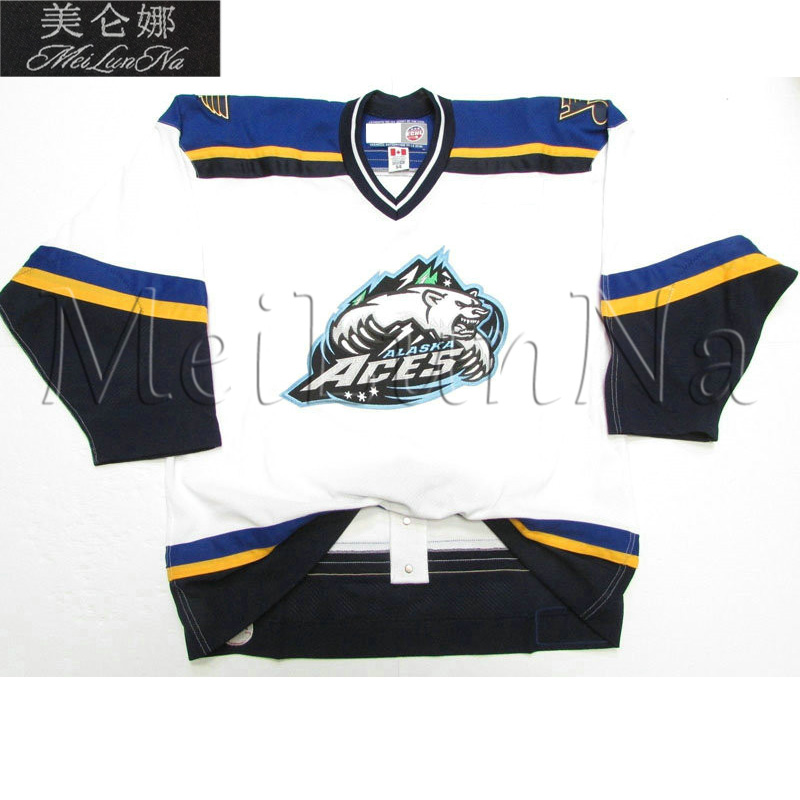 MeiLunNa Custom ECHL Alaska Aces Hockey Jerseys 8 Keith Street 16 Wes Goldie 22 Dean Larson Home Road Third Sewn On Any Name NO. цена