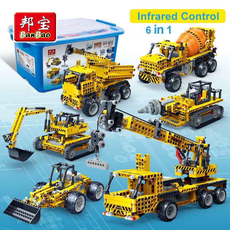 Infrared control excavator crane block 6 in 1 Compatible early education gift Assembly technic Toys For
