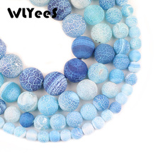 WLYeeS Natural Stone Lake blue Weathered carnelian Round 6 8 10 12mm Religious Frosted Loose Beads Jewelry Bracelets Making DIY