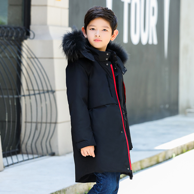 все цены на 2018 New Children Winter Duck Down Coat for Boys Thickening Warm Jackets for Big Boys 6-13 Years Long Outerwear Kids Down Jacket онлайн