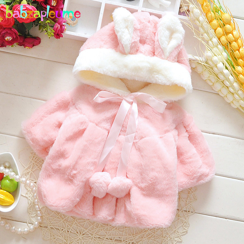babzapleume 1-3Years/autumn winter baby girls jackets cute hooded princess warm kids fur coat children's outerwear BC1240