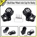 2PCS skull Rear Wheel Axle Kit Cover Cap For Harley Davidson Sportster XL 883 1200 48 2005-2016