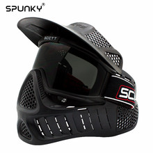 High Strength Black Paintball Mask Archery Mask with Colorful Double Lens Goggle