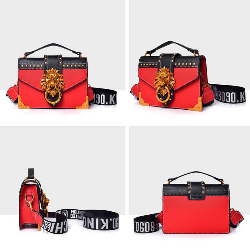 Металлическая Львиная головка, сумка на плечо, модная маленькая квадратная сумка из искусственной кожи, сумка через плечо, Женский дизайнерский кошелек, женские сумки Bolso