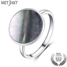 MetJakt Natural Black Shells Rings Solid 925 Sterling Silver Ring for Women Wedding Party Birthday Luxury Jewelry