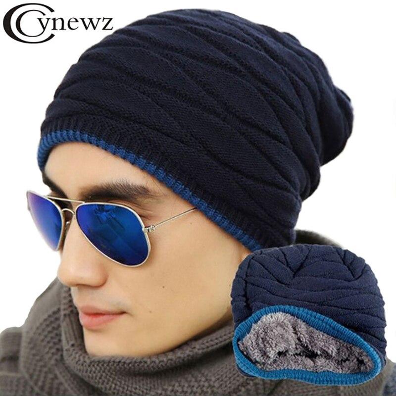 f0938636311 Men s Hat Plush Autumn Winter Warm Knit Hat Fluff Thicker Quality Fashion  Solid Black Smple Street Leisure Men Warm Hedging Cap