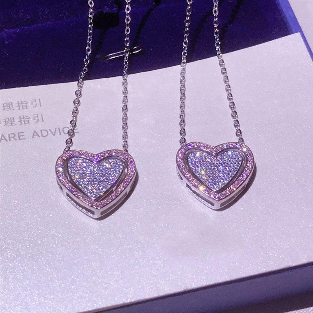 925 Sterling Argent Marque De Mode Bijoux Pour Femmes Long Collier Cubique Zircone Pierre Double Amour Pendentif Coeur Collier 45 cm