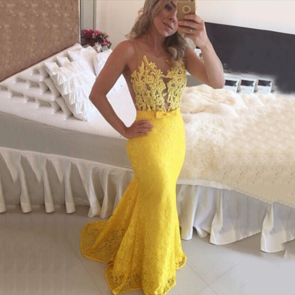 High Quality Yellow Lace Long Mermaid   Prom     Dresses   2019 O-Neck Beading Pearls Sheer Style Evening   Dress   Illusion Back Party Gown