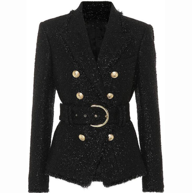 2019 slim black blazer deep V full sleeve women coat with slash