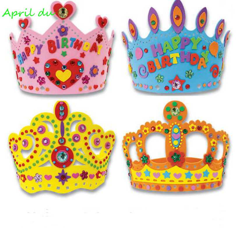 Tool Boxes Dynamic April Du Diy Craft Kits Eva Birthday Crown Hat Creative Handmade Material Kindergarten Educational Toys Party Supplies,4pcs