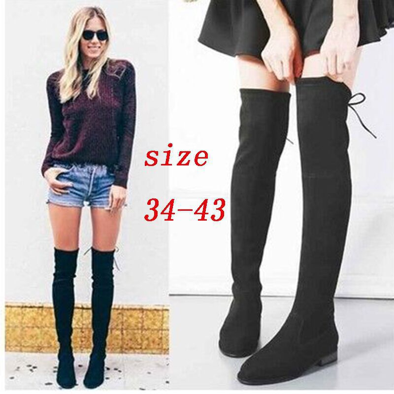SLHJC Faux Suede Long Boot Flat Heel Over Above Knee High Women Shoes Side Zip Back Lace Up Motorcycle Flats Boots Plus Size недорго, оригинальная цена