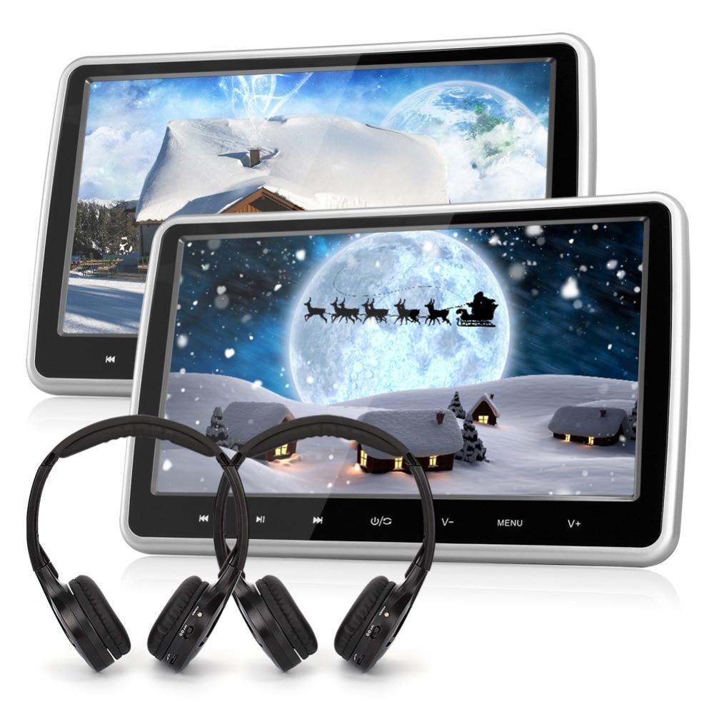 En gros! 2 pcs/lot Citrouille 10.1 pouce Voiture Appui-Tête Lecteur DVD 1024*600 TFT LCD Écran Numérique Voiture Moniteur Arrière N ° caméra