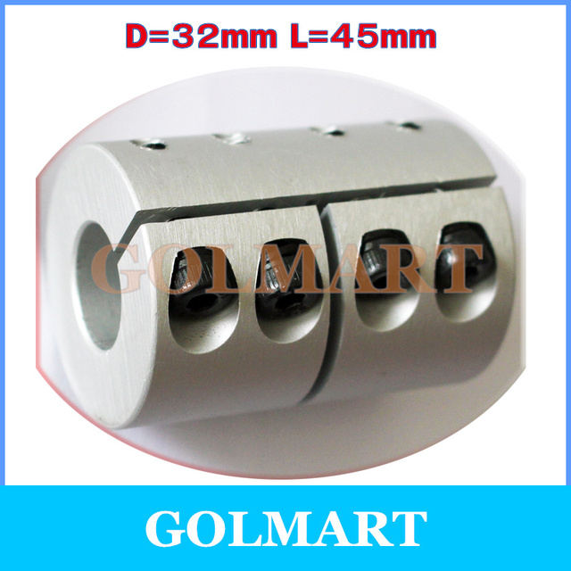 1pc clamping rigid Coupling aluminum for Engraving machine shaft coupler bore diameter D32 L45 6.35/8/10/12/12.7/14/15/16mm