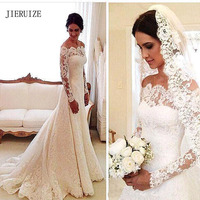 JIERUIZE White Vintage Lace Cheap Wedding Dresses Off The Shoulder Long Sleeves Bridal Dresses Wedding Gowns