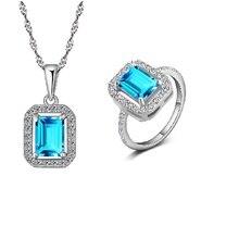 Conjunto de Joyas gemas Anillo Colgante Collar Esterlina del Sólido 925 Silver Sky Natural Topacio Azul y CZ Clara Crystal Emerald Cut