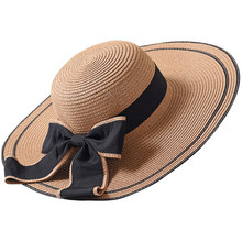 e83cb037744 HT1685 New Summer Hat Women Solid Packable Large Brimmed Sun Hat Lady Black  Big Bow Wide Brim Hat Female Floppy Straw Beach Hat