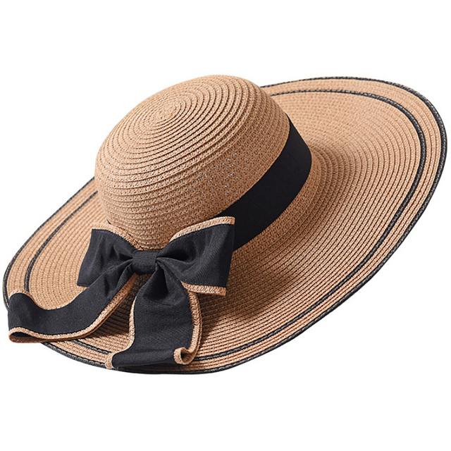 Ht1685 New Summer Hat Women Solid Packable Large Brimmed Sun Lady Black Bow Wide