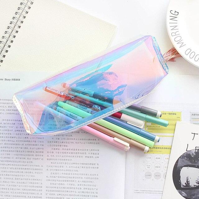 1pcs Laser Clear Pvc Cute School Supplies Pencil Case Tel Kawaii For S Cosmetic Bag