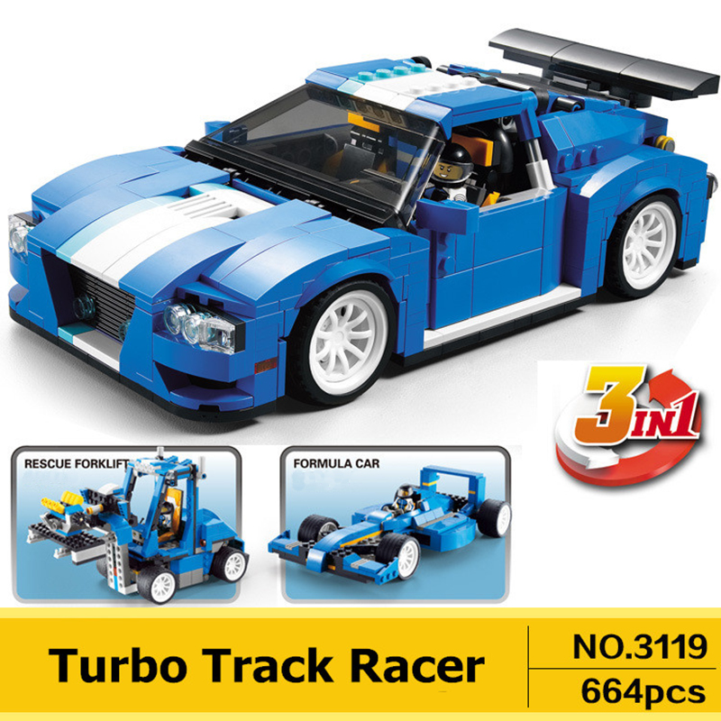 DECOOL 3119 Racer Car Model 3 in 1 Building Block Bricks Toys Compatible 31070 For Children Christmas Gift decool 3117 city creator 3 in 1 vacation getaways model building blocks enlighten diy figure toys for children compatible legoe