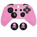 Pink Anti-slip Ultra Soft  Silicone Protective Case Skin Cover + 2 Silicone Skull Caps for Xbox One XBOX1 Wireless  Controller