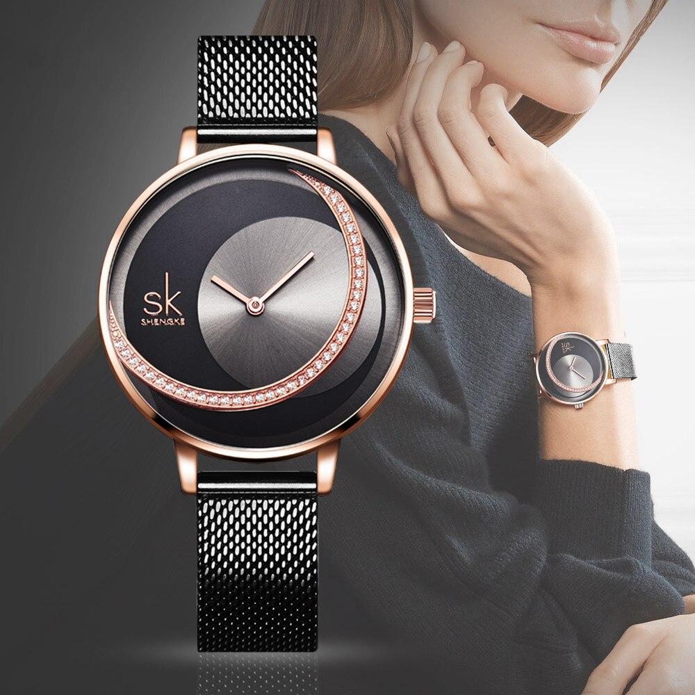 2019 Women Watches Luxury Diamond Clock Dial Quartz Wristwatches Women Black Bracelet Ladies Watch For Woman Stylish Reloj Mujer