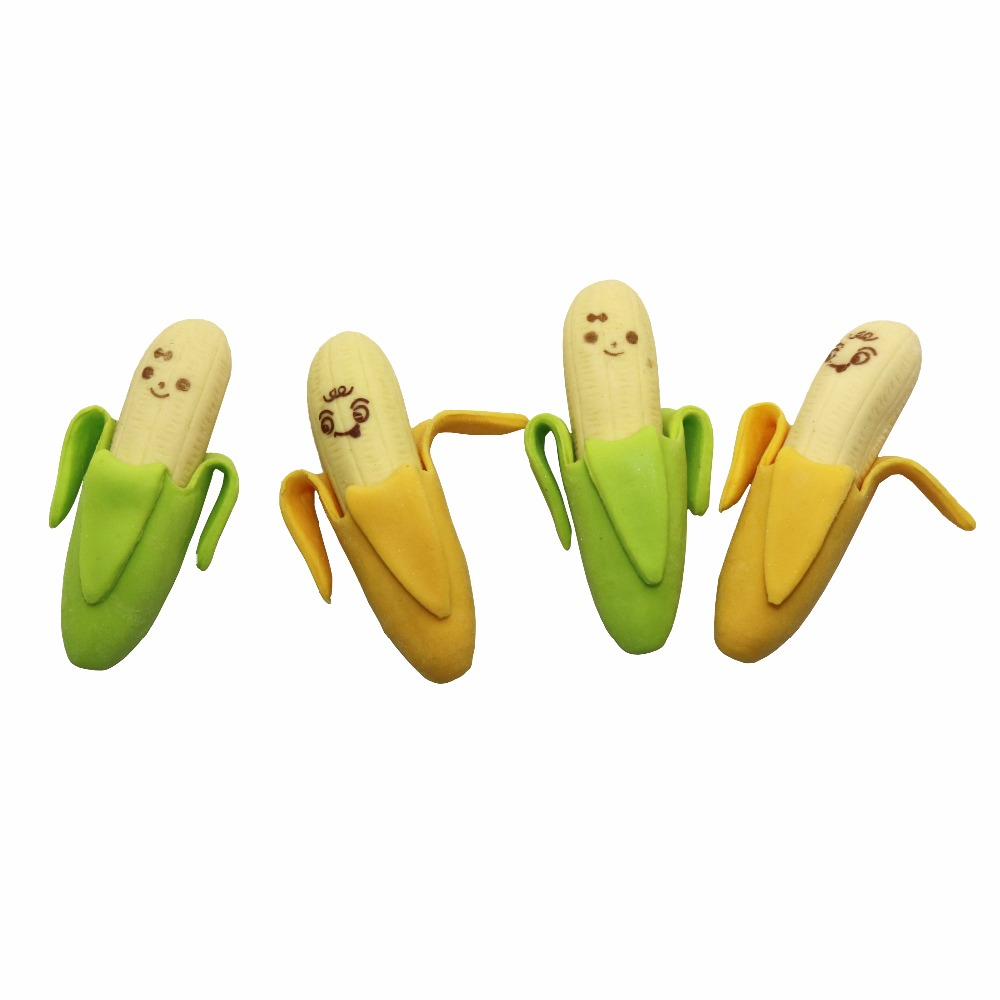 4 Pcs Banana Expression Eraser Fruits Eraser Lovely Fruit  Shape Mini Eraser School Supplies Children Learning Toys