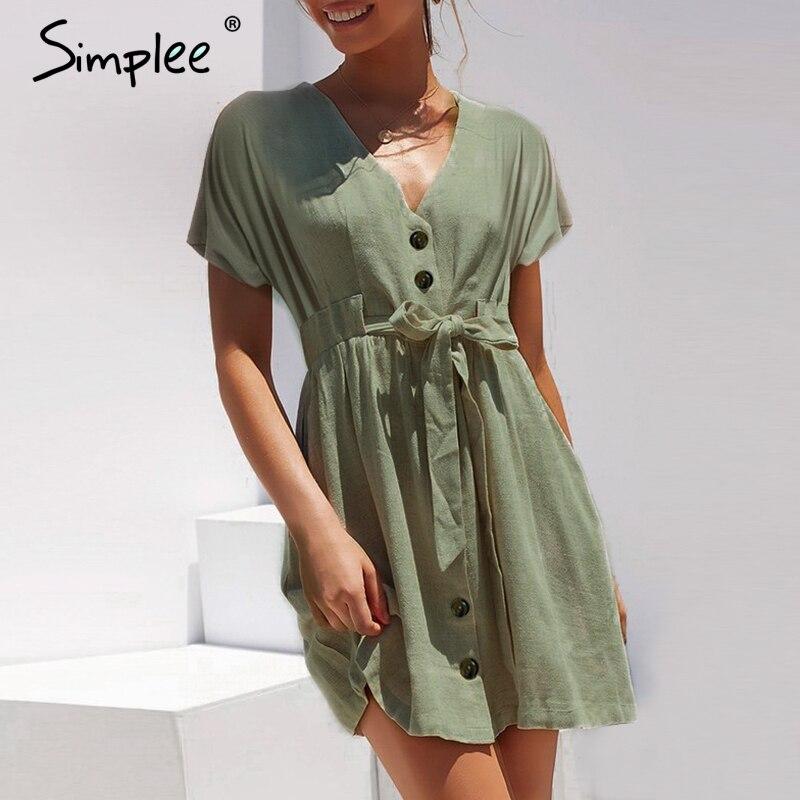 a4b92aa864b Simplee Vintage button women dress shirt V neck short sleeve cotton linen  short summer dresses Casual korean vestidos 2019 festa-in Dresses from  Women s ...
