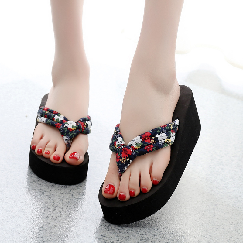 Summer Women Flip Flops Slippers High Heel Platform Wedge Thick Beach Casual Thong Sandals Shoes Popular black red green pink summer sheepskin woman platform flip flops slippers thick high heels beach sandals for women open toe shoes