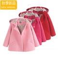 Новая мода дети детская одежда для девочек принцесса двубортный с капюшоном шерстяные пальто траншеи девушки шерсти платье пальто