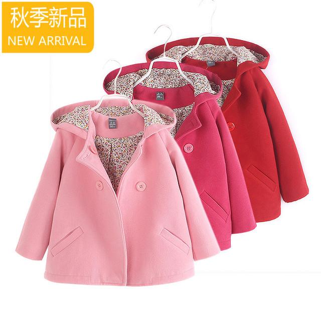Nueva moda niños Niños ropa para bebés girls princesa breasted doble con una capucha de lana de abrigo trench de lana muchachas de la capa