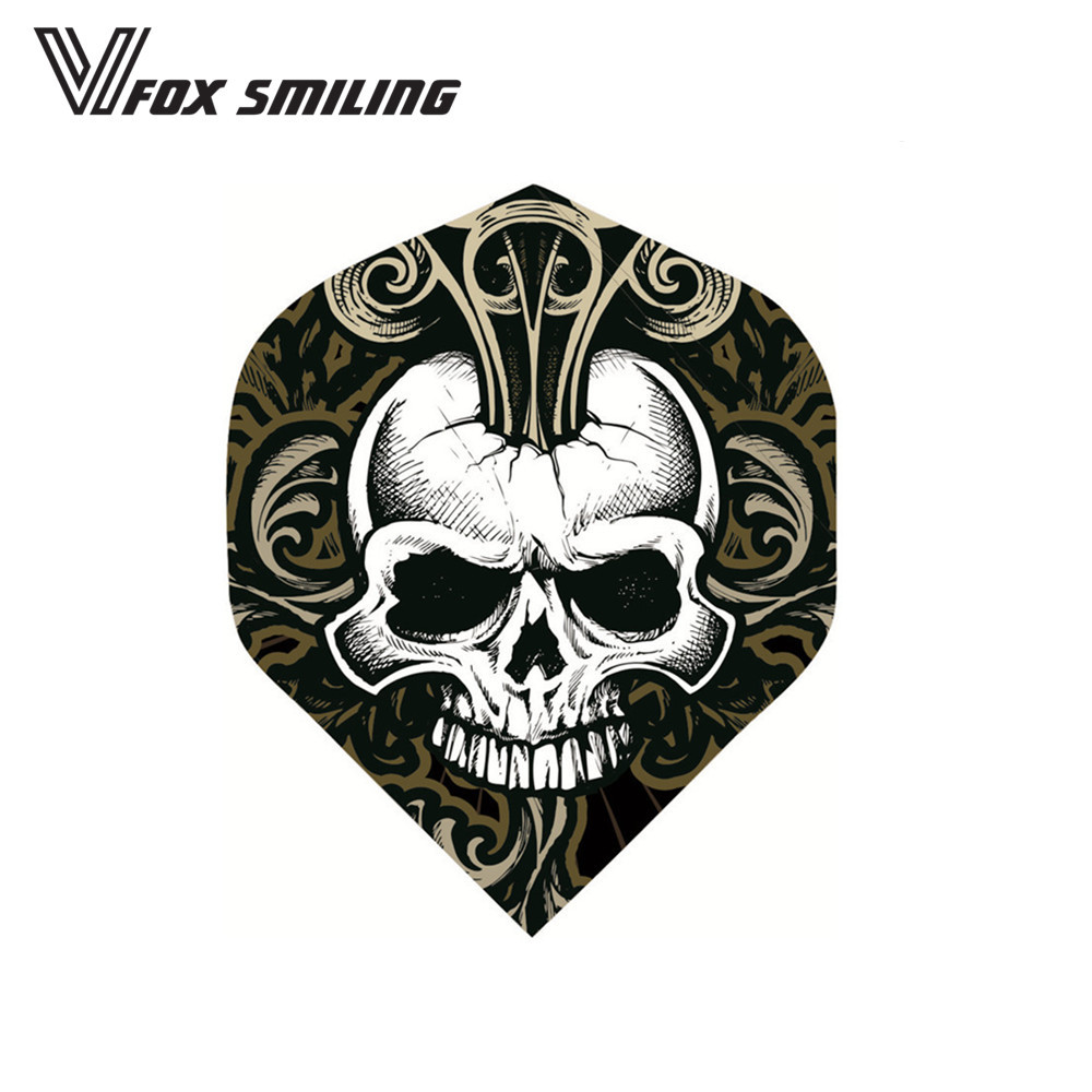 30PCS Darts Flights For Professional Darts Wing Tail Cool Pattern Dart Accessories With Skull Brown Color