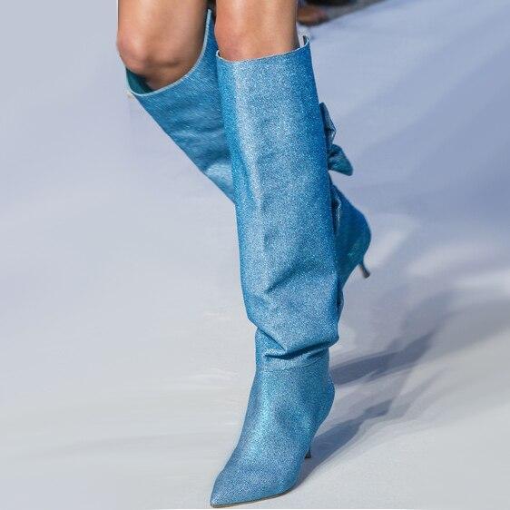 Hot Autumn Winter Runway Bow-knot Knee High Slouchy Boots Pointed Toe High Heels Woman Design Sequined Stage Boots Plus Size plus size sequined hem high low dress