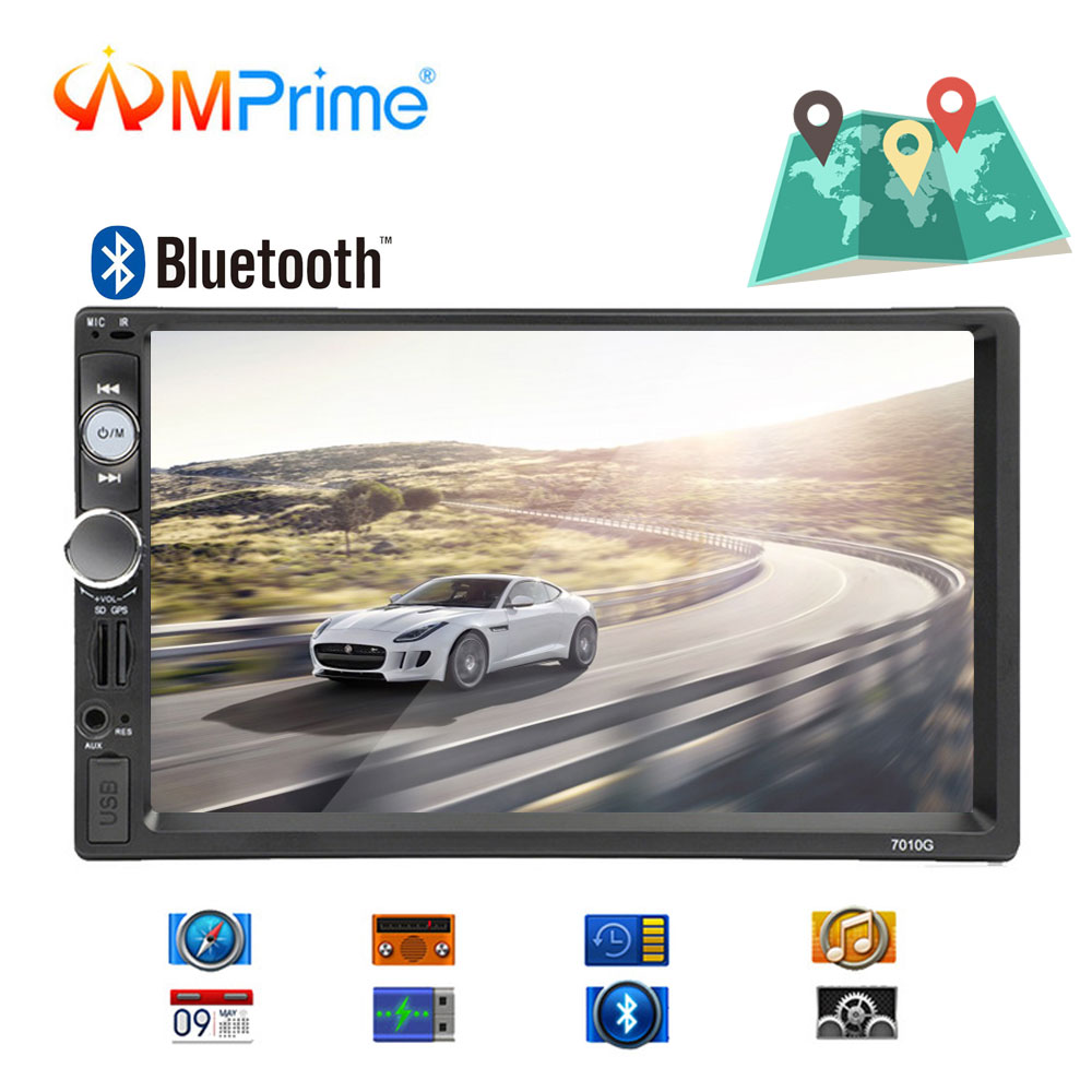 AMPrime Autoradio 2din Car Radio GPS Navigation Bluetooth Car Multimedia MP5 Player FM Audio Stereo Auto Electronic 7010G Camera(China)