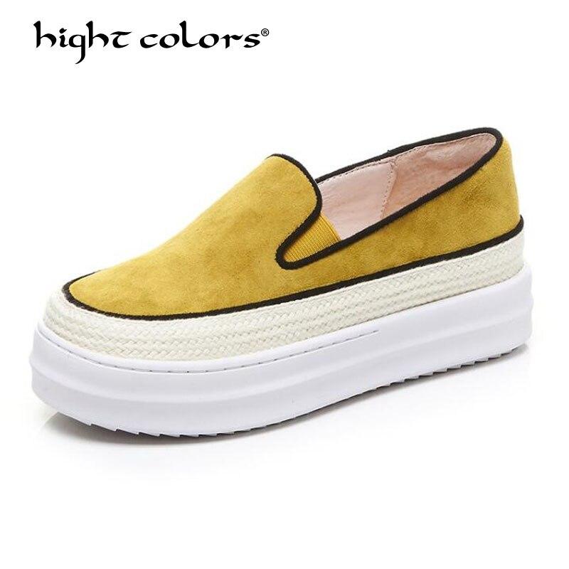 Hight farben Frauen Flache Schuhe Damen Flache Plattform Faulenzer 2019 Frauen Hohe Qualität Kid Suede schuhe Casual Plattform Wohnungen AX065-in Flache Damenschuhe aus Schuhe bei  Gruppe 1