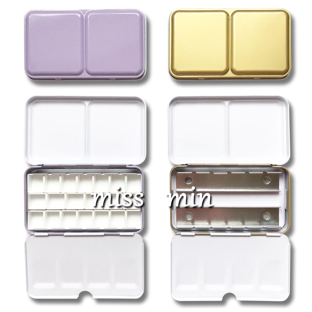 Candy Series Tin Box 12 Color Watercolor Paint Box Small Iron Box Purple Gray Gold Half Block Pigment Storage Box