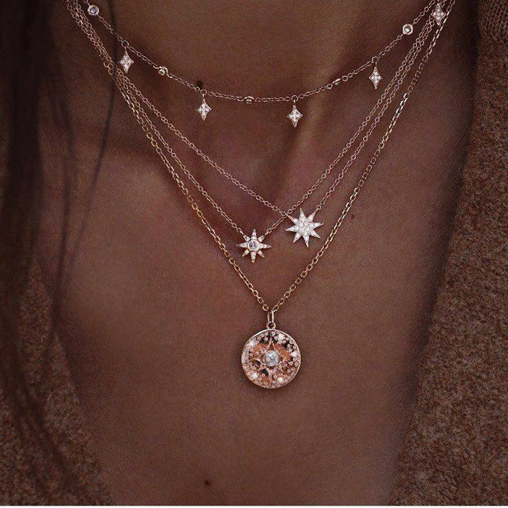 New Style Women Necklaces Fashion Moon Star Pendant Necklace Chain Elegant Jewelry Accessories Charmant Pendientes Fine Choker