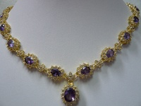 free shipping Wholesale Cheap Jewellery gold plate purple zircon crystal pendant necklace /