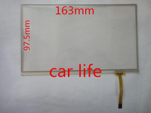 1 piece 7 inch 4 pin glass touch Screen panel Digitizer Lens panel 163mm*97.5mm for  car DVD player GPS navigation