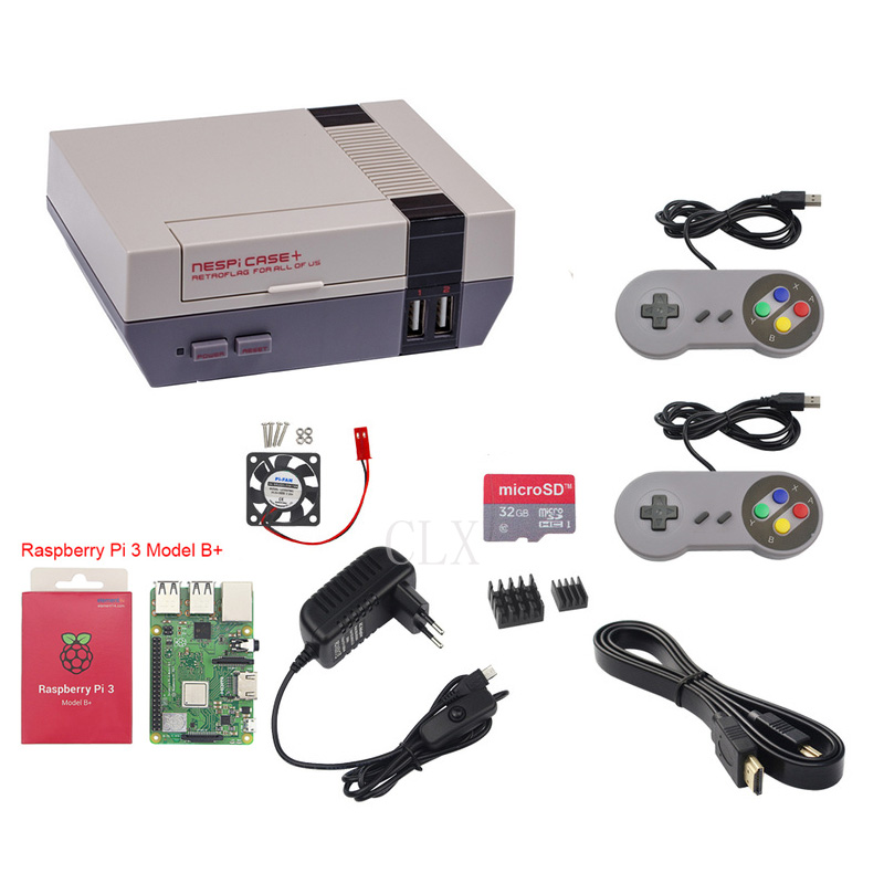 Raspberry Pi 3Bplus+Raspberry Pi NESPi Case+Retroflag Box+32GB+ Fan+power Supply+heat Sink+HDMI+2pcs Game Handle Free Shipping