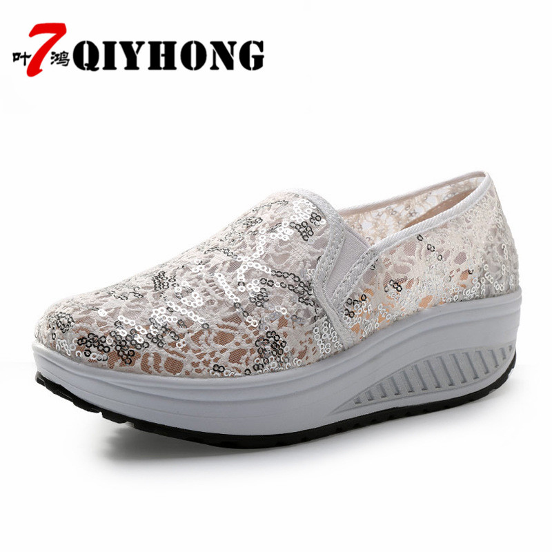 35b543252f QIYHONG 2018 nyári női sík platform cipő Nő kényelmes légáteresztő ...