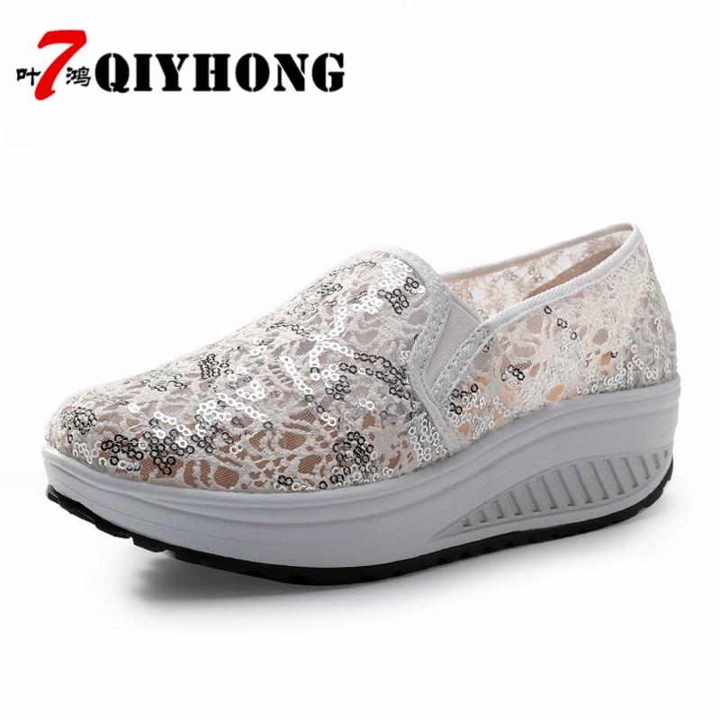 QIYHONG 2018 Sommer Frauen Flache Plattform Schuhe Frau Komfortable - Damenschuhe - Foto 1