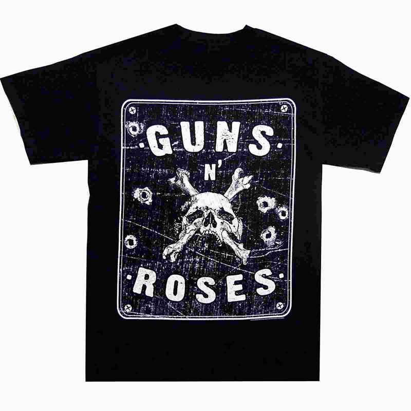 Casual Printed Tee Size S-2Xl Short Sleeve Men Printing Machine Guns N Roses Street Sign O-Neck T Shirts