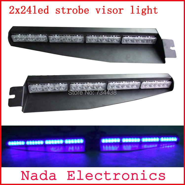 2x24led Police car visor light led strobe lights auto dash board windshield lamp car warning light RED BLUE WHITE AMBER GREEN недорого