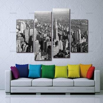 Tường canvas Vẽ Tranh nghệ thuật hiện đại in Màu Đen Và Trắng Mới York City Nhà Nghệ Thuật Ảnh Sơn Trên Vải trang trí nhà phòng
