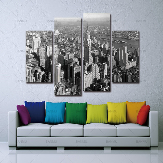Wall Painting Canvas Art Modern Print Black And White New York City Home Picture Paint On Decor Room