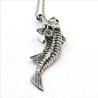 Fashion 1pcs Necklace Simple Fish Bones Pendant Chokers Long Chain Pendant Necklace Fashion Men Jewelry Free Shipping unique gif